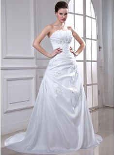 A-Line/Princess Scalloped Neck Chapel Train Taffeta Wedding Dress With Ruffle Lace Beading Sequins