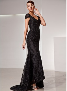 Mermaid V-neck Court Train Charmeuse Lace Mother of the Bride Dress With Beading (008014427)
