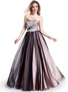 Ball-Gown Sweetheart Floor-Length Tulle Charmeuse Prom Dress With Beading Appliques