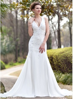 Mermaid Halter Chapel Train Chiffon Wedding Dress With Ruffle Lace Beadwork