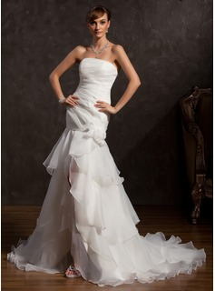 Mermaid Strapless Asymmetrical Organza Wedding Dress With Ruffle Lace Flower(s)