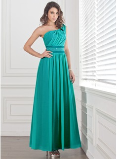 A-Line/Princess One-Shoulder Ankle-Length Chiffon Charmeuse Prom Dress With Ruffle Beading