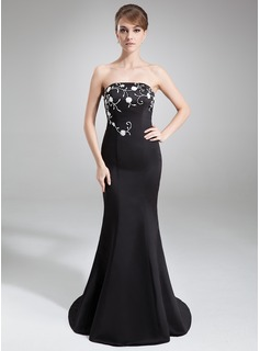 Mermaid Strapless Court Train Satin Evening Dress With Embroidered Beading (017039545)