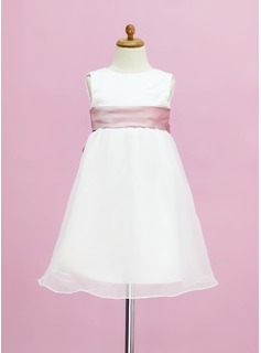 Empire Scoop Neck Floor-Length Organza Satin Flower Girl Dress With Sash (010005332)