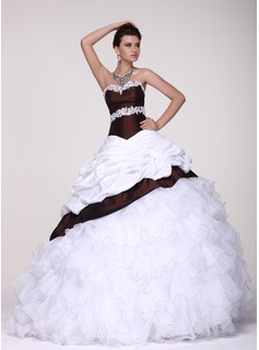 Ball-Gown Sweetheart Floor-Length Taffeta Organza Wedding Dress With Ruffle Lace (002016110)