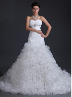 Mermaid Sweetheart Chapel Train Organza Wedding Dress With Ruffle Beadwork