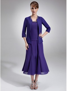 A-Line/Princess Scoop Neck Tea-Length Chiffon Charmeuse Mother of the Bride Dress With Ruffle Beading Sequins (008005996)