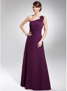 A-Line/Princess One-Shoulder Floor-Length Chiffon Evening Dress With Ruffle (017014740)