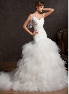 Ball-Gown One-Shoulder Chapel Train Taffeta Tulle Wedding Dress With Ruffle Lace Feather Flower(s) Sequins