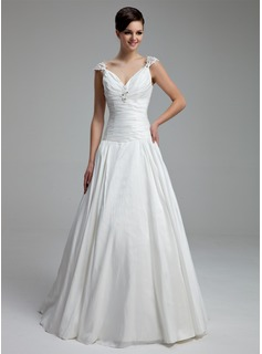 A-Line/Princess V-neck Floor-Length Taffeta Wedding Dress With Ruffle Lace Beadwork