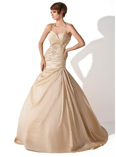 A-Line/Princess Halter Court Train Taffeta Wedding Dress With Ruffle Lace Beadwork Sequins