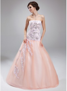 Ball-Gown Strapless Floor-Length Satin Tulle Quinceanera Dress With Lace Beading Sequins