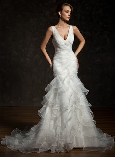 Trumpet/Mermaid V-neck Chapel Train Organza Satin Wedding Dress With Ruffle