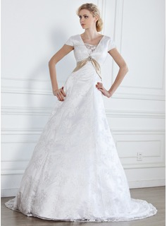 A-Line/Princess V-neck Court Train Satin Lace Wedding Dress With Sashes Crystal Brooch