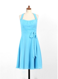 A-Line/Princess Halter Knee-Length Chiffon Junior Bridesmaid Dress With Ruffle (009022496)