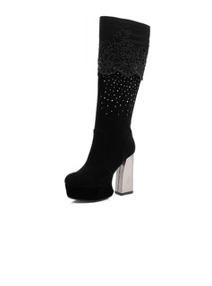 Real Leather Chunky Heel Platform Mid-Calf Boots With Rhinestone shoes
