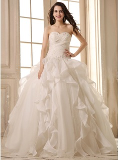 Ball-Gown Sweetheart Floor-Length Organza Satin Wedding Dress With Lace Beading Cascading Ruffles (002026595)
