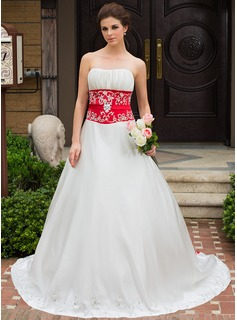 A-Line/Princess Sweetheart Chapel Train Satin Wedding Dress With Embroidery Ruffle Sash Beading