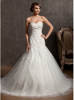 Ball-Gown Sweetheart Cathedral Train Satin Tulle Wedding Dress With Lace Beading