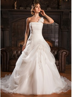 Ball-Gown One-Shoulder Court Train Organza Wedding Dress With Ruffle Flower(s)