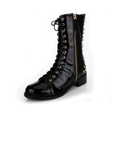 Patent Leather Flat Heel Mid-Calf Boots Martin Boots With Rivet Zipper Lace-up shoes (088040902)