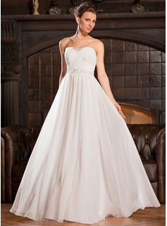 A-Line/Princess Sweetheart Floor-Length Chiffon Charmeuse Evening Dress With Ruffle Beading Sequins