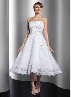 A-Line/Princess Sweetheart Tea-Length Organza Satin Wedding Dress With Ruffle Lace Beading