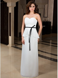 Sheath Sweetheart Floor-Length Chiffon Charmeuse Evening Dress With Ruffle Sash