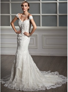 Trumpet/Mermaid Off-the-Shoulder Chapel Train Satin Tulle Wedding Dress With Lace Beading