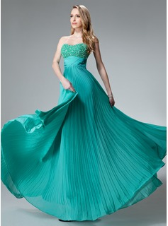 Empire Sweetheart Floor-Length Chiffon Holiday Dress With Ruffle Beading (020003246)