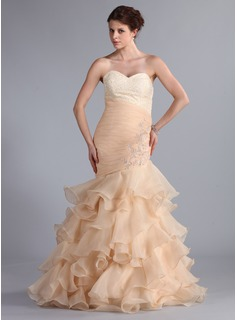 Mermaid Sweetheart Sweep Train Organza Prom Dress With Ruffle Lace Beading (018026261)