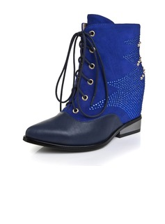 Real Leather Wedge Heel Pumps Wedges Ankle Boots With Sequin Rivet Lace-up shoes