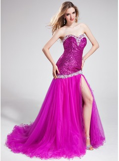 Mermaid Sweetheart Court Train Tulle Sequined Prom Dress With Beading