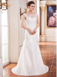 Trumpet/Mermaid Scoop Neck Sweep Train Taffeta Tulle Wedding Dress With Ruffle Beading Appliques Lace Sequins