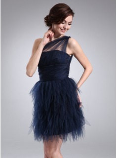 Sheath One-Shoulder Short/Mini Tulle Cocktail Dress With Ruffle (016008363)