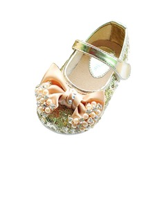 Kids' Sparkling Glitter Flat Heel Closed Toe Flats With Bowknot Imitation Pearl Rhinestone