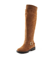 Suede Low Heel Knee High Boots Snow Boots With Buckle shoes