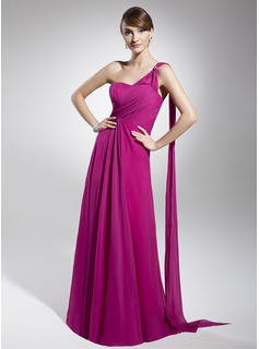 A-Line/Princess One-Shoulder Floor-Length Chiffon Holiday Dress With Ruffle Beading (020039559)