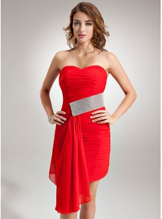 Sheath Sweetheart Asymmetrical Chiffon Cocktail Dress With Ruffle Beading
