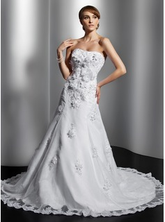 A-Line/Princess Sweetheart Chapel Train Organza Satin Wedding Dress With Lace Beading Flower(s) Sequins