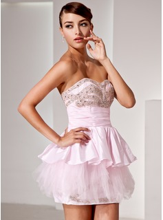 A-Line/Princess Sweetheart Short/Mini Taffeta Tulle Cocktail Dress With Ruffle Beading (016014424)
