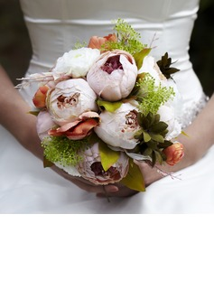 Colorful Round Satin Wedding Bouquet (123040479)