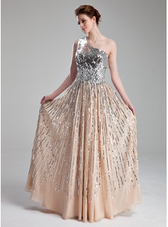 A-Line/Princess One-Shoulder Floor-Length Chiffon Sequined Prom Dress With Beading