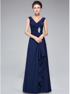 Sheath/Column V-neck Floor-Length Jersey Mother of the Bride Dress With Beading Sequins Split Front Cascading Ruffles