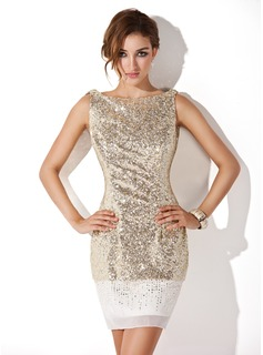 Sheath Scoop Neck Short/Mini Chiffon Sequined Cocktail Dress (016008346)