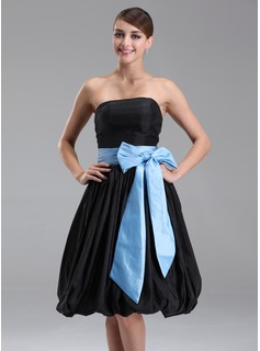 Empire Strapless Knee-Length Taffeta Bridesmaid Dress With Sash (007001125)