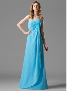 Sheath/Column Strapless Floor-Length Chiffon Bridesmaid Dress With Ruffle Flower(s)
