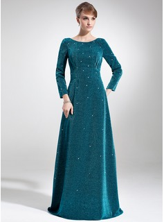 Empire Scoop Neck Sweep Train Velvet Mother of the Bride Dress With Beading