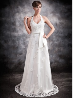 A-Line/Princess Halter Court Train Satin Tulle Wedding Dress With Lace Beadwork