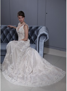 A-Line/Princess V-neck Court Train Satin Lace Wedding Dress With Beadwork (002012770)